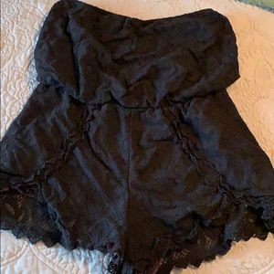 free people strapless black lace romper